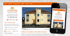 Logo-ontwerp, webdesign en webdevelopment desktop en mobiele website voor Riverside Guesthouse in Karakol